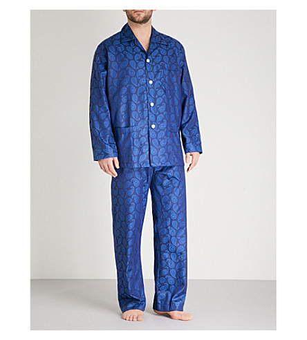 DEREK ROSE Paisley-print cotton pyjama set (Blue