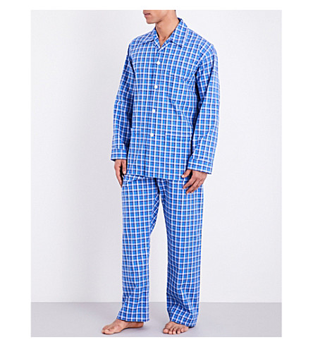 DEREK ROSE Ranga cotton pyjama set (Lt+blue
