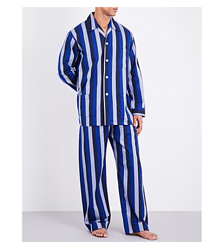 DEREK ROSE Striped cotton pyjama set (Blues