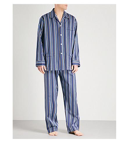 DEREK ROSE Wellington striped cotton pyjama set (Navy+ylw