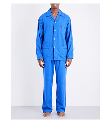 DEREK ROSE Arran 20 Classic Puppytooth brushed-cotton pyjama set (Brt+blue