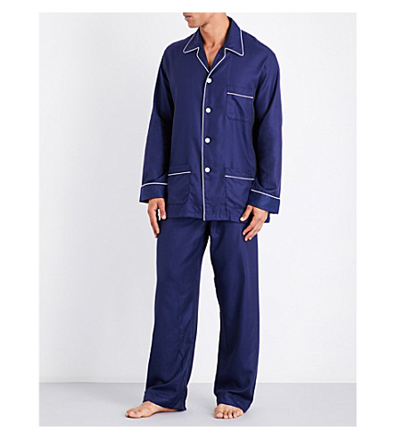 DEREK ROSE Lombard jacquard cotton pyjama set (Navy