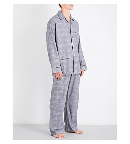 DEREK ROSE Classic check cotton pyjama set (Mono