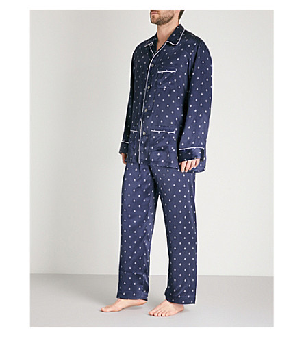 DEREK ROSE Paisley-print silk-satin pyjama set (Navy