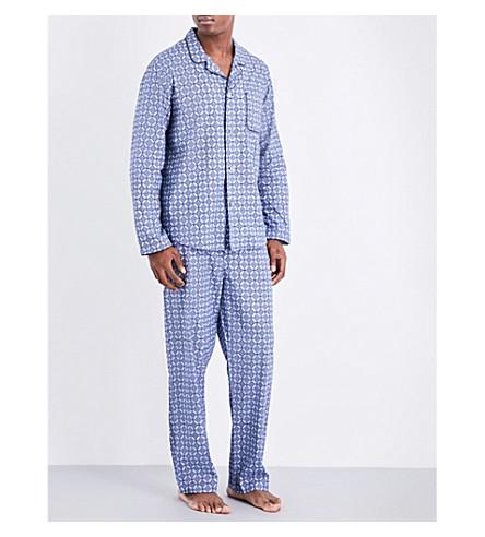 DEREK ROSE Modern ornate-pattern cotton pyjama set (Lt+blue