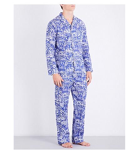 DEREK ROSE Modern Jungle cotton pyjama set (Blue