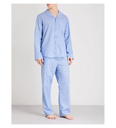 DEREK ROSE Modern-fit cotton pyjama set (Lt+blue