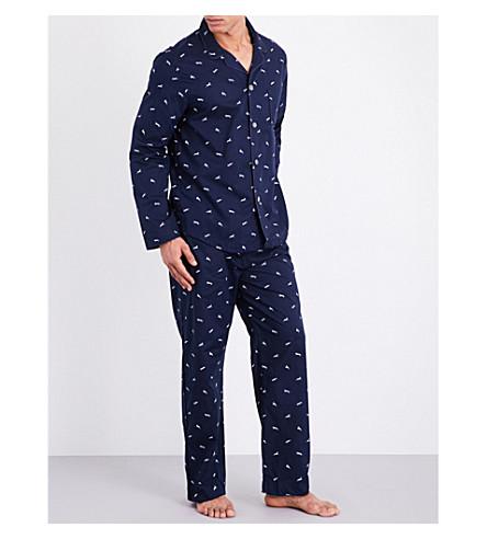 DEREK ROSE Nelson 61 cotton pyjama set (Navy