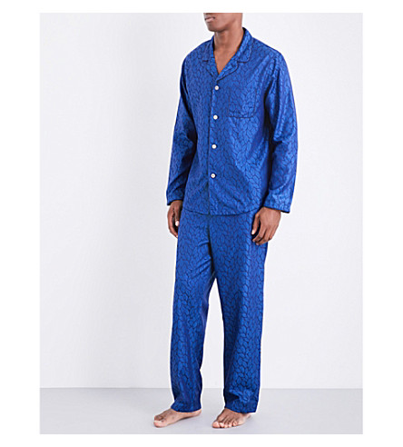 DEREK ROSE Modern leaf-pattern jacquard pyjama set (Brt+blue