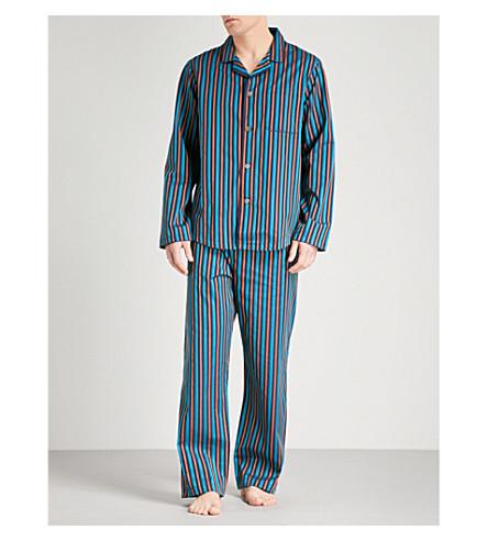 DEREK ROSE Royal 207 striped cotton pyjama set (Teal+orng