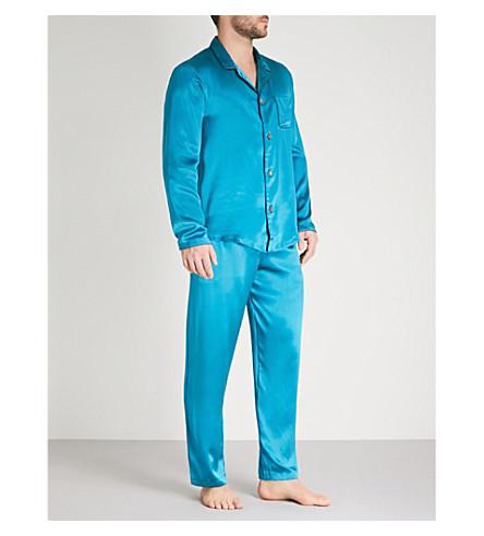 DEREK ROSE Bailey silk-satin pyjama set (Teal