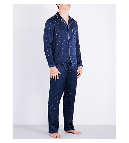DEREK ROSE Modern diamond-print silk-satin pyjama set (Navy