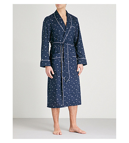 DEREK ROSE India house-print cotton-poplin robe (Navy