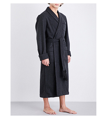 DEREK ROSE Blandford houndstooth wool and cashmere-blend dressing gown (Charcoal