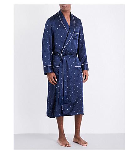 DEREK ROSE Diamond polka-dot silk robe (Navy