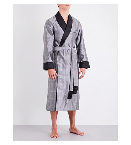 DEREK ROSE Houndstooth silk robe (Mono