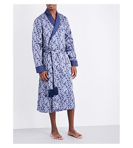 DEREK ROSE Paisley silk robe (Blue