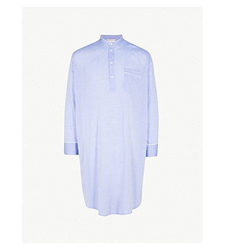 DEREK ROSE Amalfi contrast-piped cotton nightshirt (Mid+blu