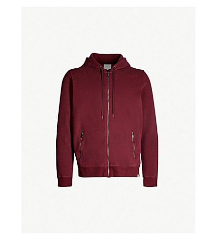 DEREK ROSE Devon marl-patterned cotton-jersey hoody (Burgundy