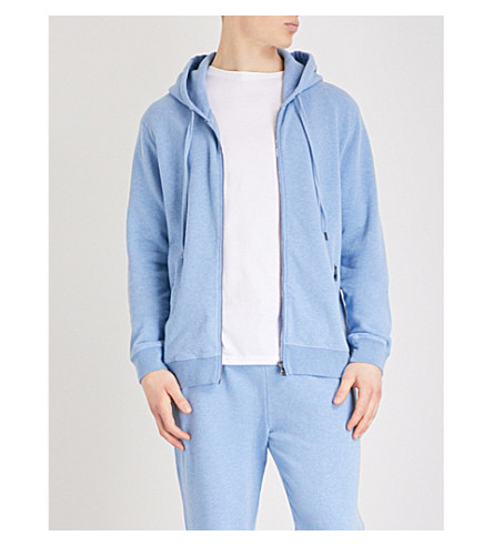 DEREK ROSE Devon marl-patterned cotton hoody (Lt+blue