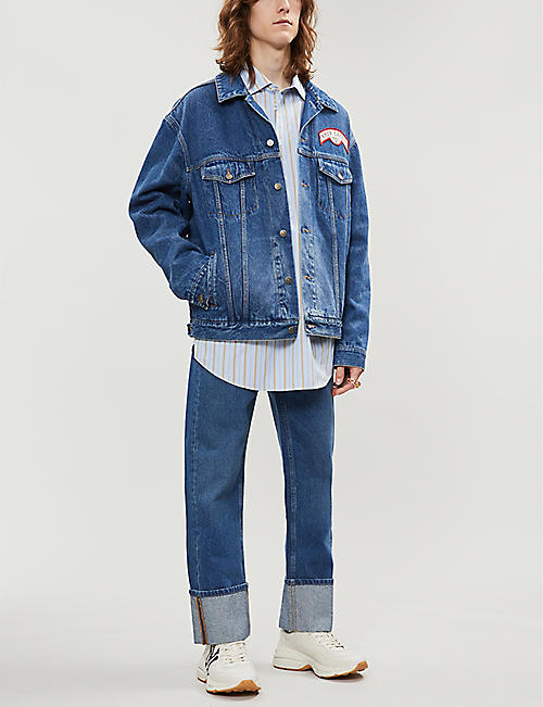GUCCI Logo-patch oversized denim jacet