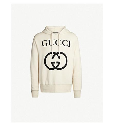 GUCCI Logo-print cotton-jersey hoody (White black