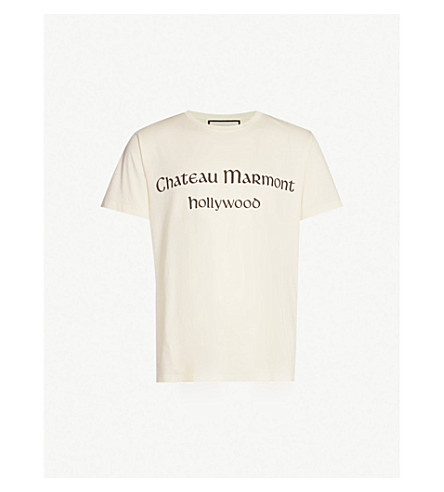 GUCCI Chateau Marmont Hollywood cotton-jersey T-shirt (White