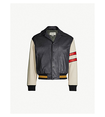 GUCCI Logo-print leather bomber jacket (Black