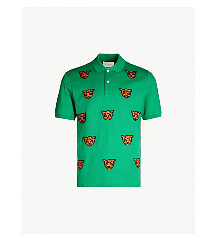 GUCCI Tiger-embroidered stretch-cotton piqué polo shirt (White