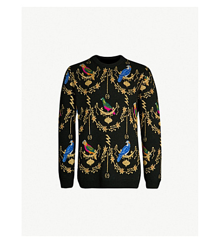 GUCCI Voliére jacquard wool-blend sweater (Black
