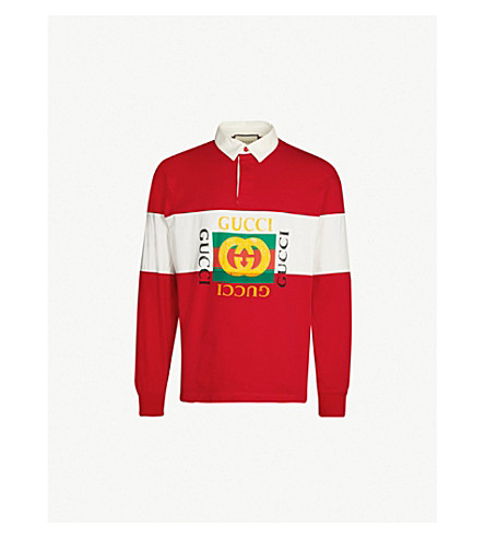 GUCCI Striped cotton-jersey rugby top (Red