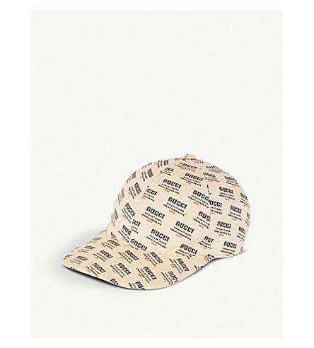 GUCCI Logo-print canvas cap (Tan
