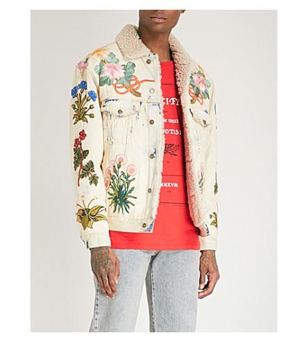 GUCCI Embroidered shearling-trimmed denim jacket (Blue