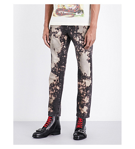 GUCCI Slim-fit bleached jeans (Brown