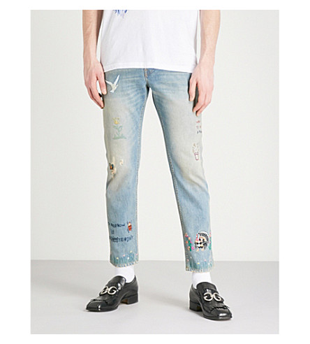 GUCCI Embroidered regular-fit tapered jeans (Blue