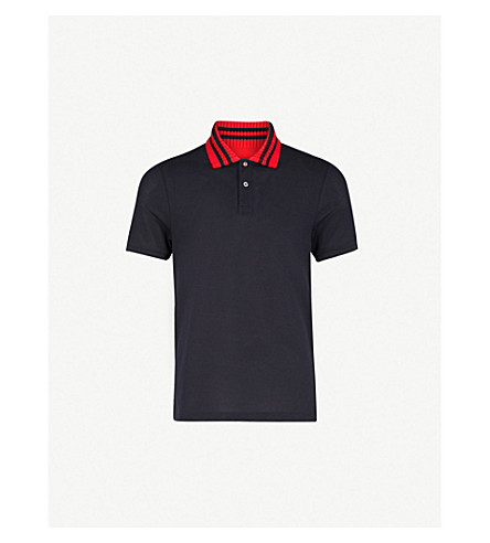 GUCCI Striped-collar stretch-cotton polo shirt (Navy