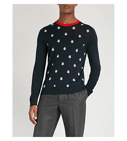 GUCCI Bee and star-pattern wool jumper (Navy+white