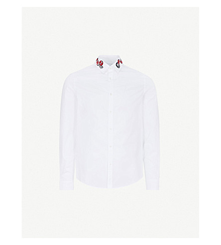 GUCCI Snake-embroidered slim-fit cotton shirt (White