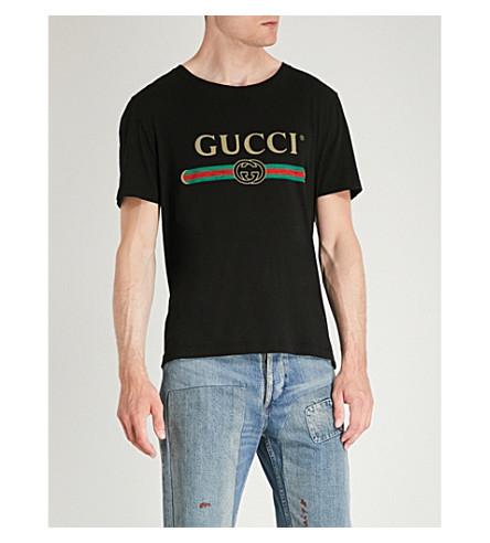 GUCCI Fake logo-print cotton-jersey T-shirt (Black
