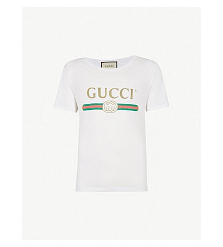 GUCCI Fake logo-print cotton-jersey T-shirt (White