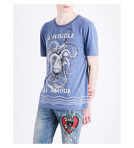 GUCCI Embroidered octopus-print cotton-jersey T-shirt (Blue