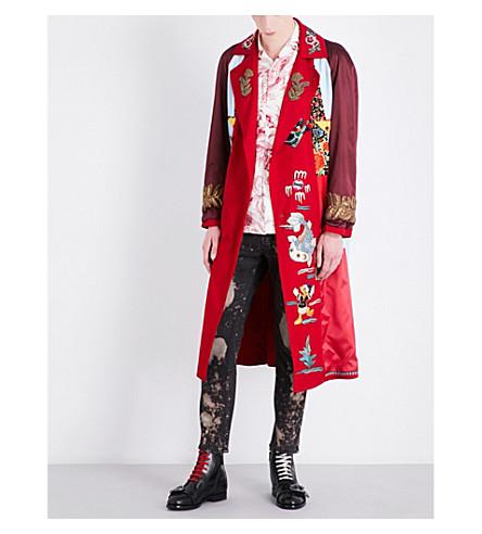 GUCCI Embroidered woven kimono coat (Red