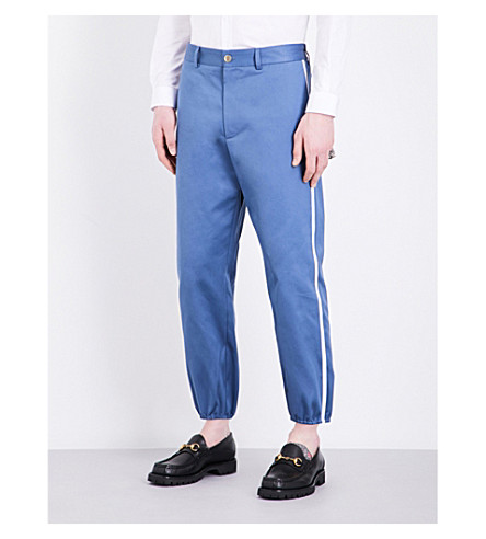 GUCCI Striped-sides slim-fit cotton trousers (Blue