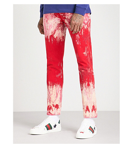 GUCCI Tie-dye slim-fit corduroy trousers (Red