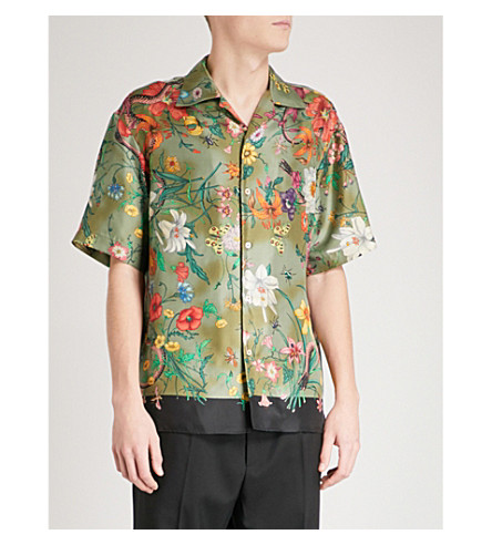 GUCCI Floral snake-print regular-fit silk-twill shirt (Khaki