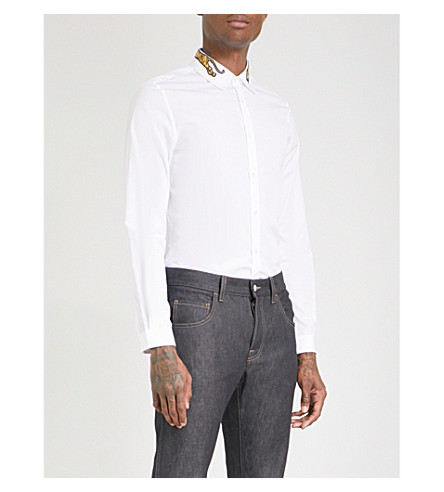 GUCCI Duke tiger-embroidered regular-fit cotton-poplin shirt (White