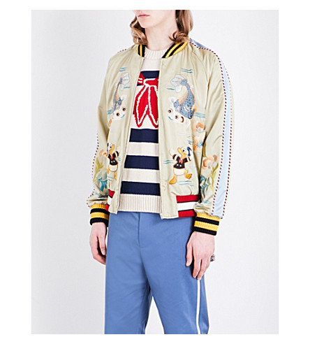 GUCCI Donald Duck-embroidered satin bomber jacket (Sage gold