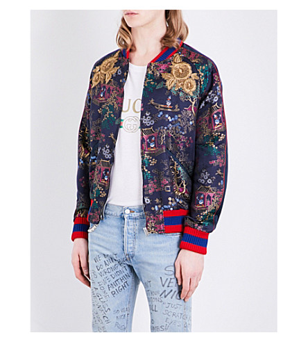 GUCCI Donald Duck jacquard bomber jacket (Blue/red