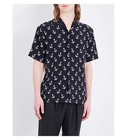 GUCCI Anchor-print regular-fit silk shirt (Black/white