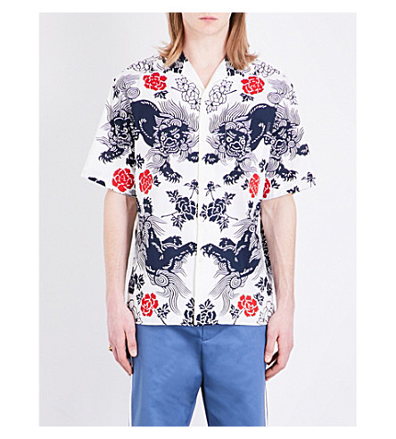 GUCCI Dragon-print regular-fit cotton shirt (White blue